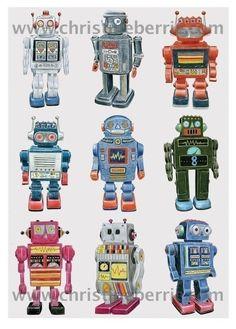 Retro Robots -  Limited edition archival print. $35.00, via Etsy.