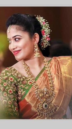 bridal jewelry for the radiant bride Wedding Saree Blouse Designs, Pattu Saree Blouse Designs, Fancy Blouse Designs, Gold Jewellery Design, Gold Jewelry, Gold Necklace, Wedding Saree Collection, Bridal Silk Saree, Stylish Blouse Design