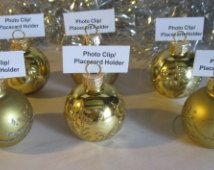 glass ornament place card holders or photo holder gold