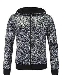 Long Sleeve Leopard Print Zip Up Hoodie #CLICK! #clothing, #shoes, #jewelry, #women, #men