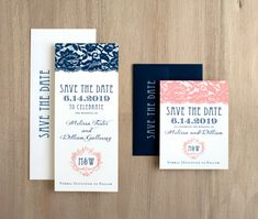 Deco & Lace - modern, elegant, and totally timeless blush lace and navy art deco inspired wedding save the date cards! Personalize these unique save