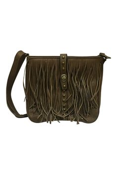 """The adjustable shoulder strap makes this handbag very versatile. This handbag features a zipper and twist closure on the main pocket and a zippered pocket on the back as well as on the inside.  Dimensions: 12"""" x 9"""" x 3""""  Brown Fringe Handbag by Mad Style. Bags - Cross Body South Dakota"""
