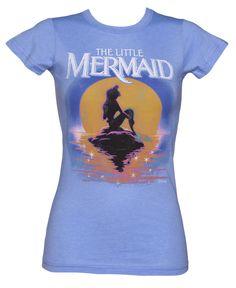 LIMITED EDITION Ladies Blue Disney Little Mermaid Sunset T-Shirt
