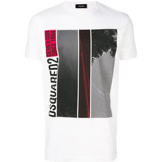Dsquared2 logo T-shirt ($305) ❤ liked on Polyvore featuring men's fashion, men's clothing, men's shirts, men's t-shirts, white, mens white t shirts, mens short sleeve t shirts, mens short sleeve straight hem shirts, mens straight hem shirts and mens short sleeve shirts