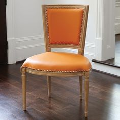 Marilyn Chair with Orange Leather-Available in Side Chair or Arm Chair