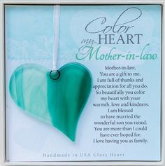 A great gift for mother-in-law! Our handmade glass heart is perfect when you need a sentimental gift :) The Grandparent Gift Co.