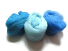 Hand Dyed Felting Wool  Shades of Blue by flickertailfibers, $5.00