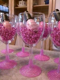Bachelorette party favors nail polish glitter wine glass idea by cheryl