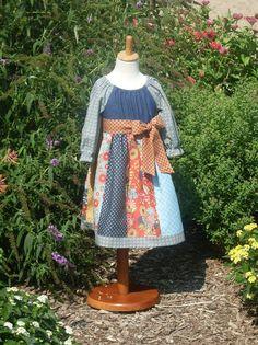 Autumn Country Denim Strip Peasant Dress Size by designsbylindakay, $49.99