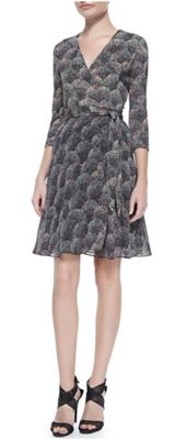 Diane von Furstenberg - 3/4-Sleeve Printed Silk Wrap Dress: The top of this dress is DVF's classic silk jersey, and the bottom is done in chiffon to create some ease and swing that is so flattering – and can be suitable for work or out for cocktails.