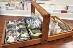 shallow tray with vintage tins for organization - on Mish Mash: Project Life Organization....