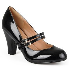 Women's Journee Collection Wide Width Mary Jane Faux Leather Pumps - Black 7.5W
