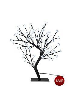 Pre Lit Blossom Twig Tree Outdoor Christmas Decoration - 45 cm