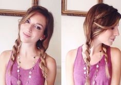 Twisted pigtails with a fishtail braid accent.