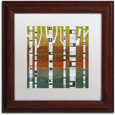 Trademark Fine Art Birches Canvas Art by Michelle Calkins, White Matte, Wood Frame, Size: 16 x 16, Green