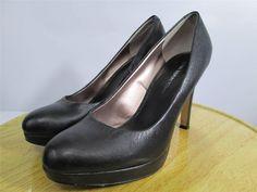 Banana Republic High Heels Platform Pumps Shoes Black Leather Size 7.5 #BananaRepublic #PumpsClassics
