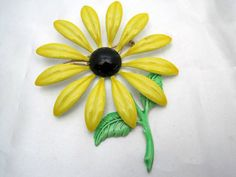Yellow Flower Brooch Enamel Daisy Pin by VintagObsessions on Etsy