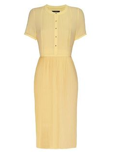 Pintuck tee sleeve pleated dress