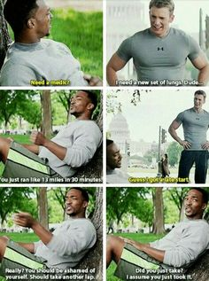 Anthony Mackie/Sam Wilson and Chris Evans/Captain America Funny Marvel Memes, Dc Memes, Marvel Jokes, Marvel Dc Comics, Marvel Universe, Captain America, America 2, Iron Man, Capitan America Chris Evans