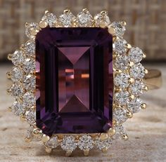 ESTATE 6.53CTW NATURAL AMETHYST AND DIAMOND RING IN 14K SOLID YELLOW GOLD #Cocktail