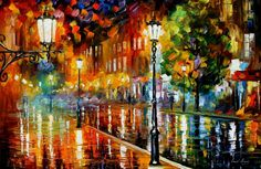 STREET OF ILLUSIONS by Leonid Afremov I love the lanterns glowing among these gorgeous colours.  Jane etenerifeholidays.co.uk
