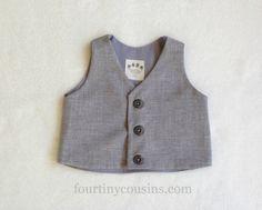 Boys Vest  Ring Bearer  Infant vest  Baby boy by fourtinycousins, $30.00