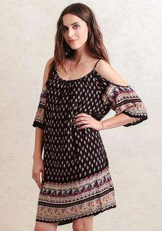 Follow The Map Printed Off-Shoulder Dress