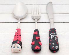 Purple Cutlery Sets Unique Flatware Elegant por RadArtaDesign