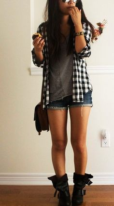 Lazy day plaid outfit.