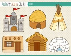 Homes for People Clip Art - color and outlines $