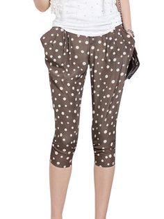 Polka Dot Loose Elastic Waist Casual Harem Pants on buytrends.com