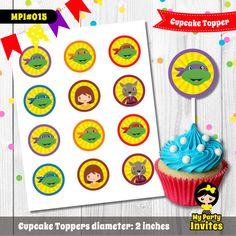 Ninja Turtle Cupcake Toppers, Instant Download, Ninja Turtle Stickers, Printable Party, MPI#015