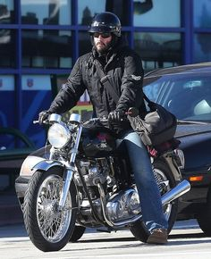 Keanu Reeves out for a cruise on his motorcycle in Los Angeles, California on February 11, 2013.