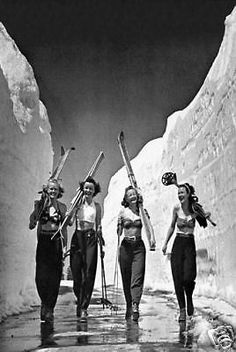 Girls Gone Skiing Vintage Ski Poster..Image from 1942..Free ship in USA!