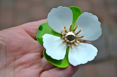 WHITE ENAMEL PANSY Brooch by Sarah Coventry Vintage Designer Enamel Brooch Pin White and Green Enamel  Large Pansy Petals by StudioVintage on Etsy