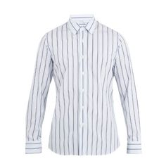 Prada Single-cuff striped-cotton shirt (€435) ❤ liked on Polyvore featuring men's fashion, men's clothing, men's shirts, men's dress shirts, blue stripe, mens dress shirts, mens long sleeve shirts, mens blue shirt, mens french cuff shirts and mens slim shirts