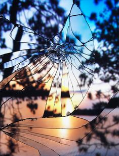 Sunset through cracked glass