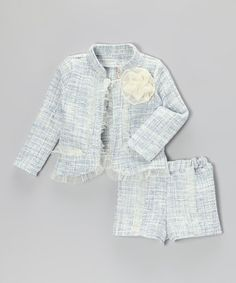 Take a look at this Blue & Crème Tweed Jacket & Shorts - Toddler & Girls by Mia Belle Baby on #zulily today!