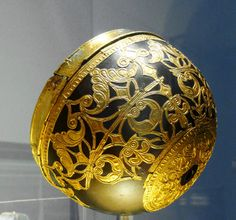 Celtic Bowl Featuring Ornamental Gold Mounts  --  Circa 420 BCE  --  Discovered in Schwarzenbach, Germany