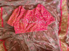 Stunning designer saree and  designer boat neck blouse with hand embroidery kundan work. 12 July 2017