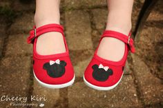 Minnie mouse inspired shoes  Childrens hand painted by Snanimals, $23.00. I bought these for Kayla's birthday!!
