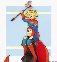 'Thor's daughter' by me. Am I the only one that thinks Carol and Thor would be best buddies and have a father/daughter relationship? Avengers Fan Art, Marvel Fan Art, Avengers Comics, The Avengers, Marvel Dc Comics, Marvel Heroes, Jay Marvel, Thor, Marvel Universe