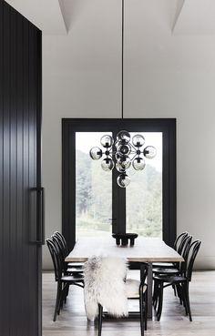 Main Ridge House by Studio Griffiths - Australian Interior Design Awards Black Dining Room, Interior, Black And White Dining Room, Decor Interior Design, Home Decor, Apartment Decor, Modern Interior Design, White Interior, Interior Design Awards