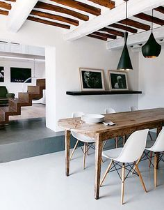 I love the modern-rustic mix of this dining area.