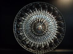 Mid Century glass cake stand salver with silver by Treasures102, $22.99