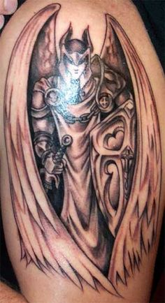 Angel Wings And Demon Tattoo On Half Sleeve and information related to it.