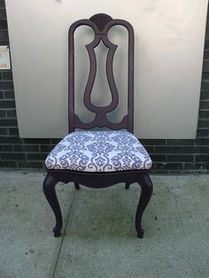Upcycled Vintage Purple Ikat Upholstered Chair, (Sold)