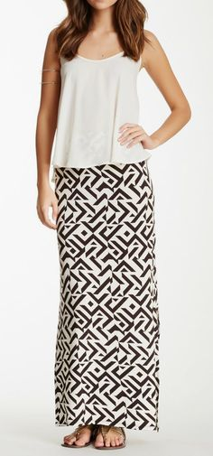 Romeo & Juliet Couture Printed Side Slit Maxi Skirt