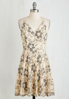 Early Antiquing Dress. Youll take your coffee to go this morning, for you're off to hunt estate sales in this lovely lace dress! #cream #prom #modcloth