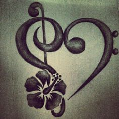 Bass clef treble clef tattoo with a hibiscus - absolutely love this. #samoan #tattoo